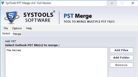 SysTools PST Merge Tool Screenshot 1