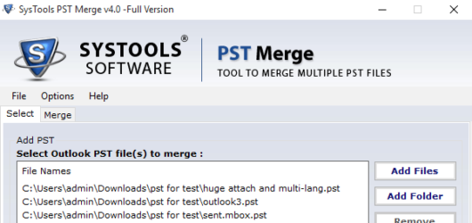SysTools PST Merge Tool Screenshot 2