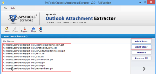 SysTools Outlook Attachment Extractor Screenshot 2